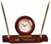 Piano Finish Desk Clock on Base with 2 Pens Clocks
